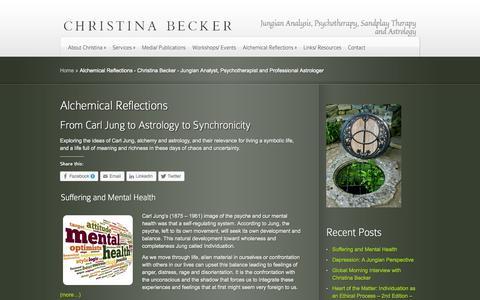 Screenshot of Blog cjbecker.com - Alchemical Reflections - Christina Becker - Jungian Analyst, Psychotherapist and Professional Astrologer | Christina Becker -  Jungian Analyst, Psychotherapist and Professional Astrologer - captured Oct. 6, 2014