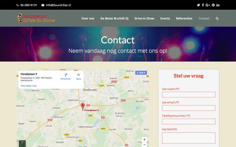 Screenshot of Contact Page sound-star.nl - Contact - Soundstar Drive In Show - captured Oct. 23, 2017