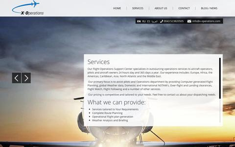 Screenshot of Services Page x-operations.com - Services - X-Operations - Worldwide Flight Operation Support - captured Sept. 30, 2014