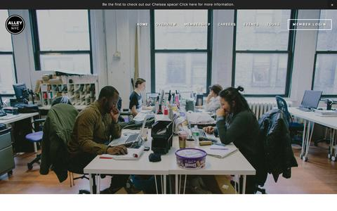 Screenshot of Home Page alleynyc.com - AlleyNYC - The Most Badass Coworking Space on the Planet - captured Dec. 24, 2015