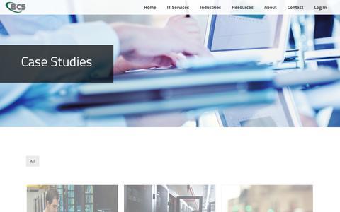 Screenshot of Case Studies Page bcscallprocessing.com - IT Case Studies - captured Nov. 21, 2016