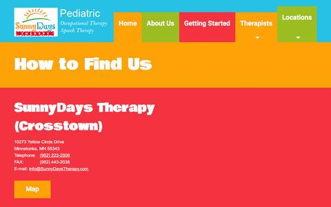 Screenshot of Locations Page sunnydaystherapy.com - Speech and Occupational Therapy - SunnyDays Therapy - captured Feb. 16, 2016