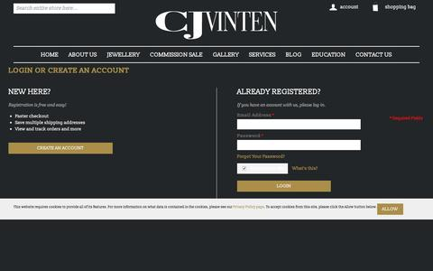 Screenshot of Login Page cjvinten.co.uk - Customer Login | cjvinten.co.uk - captured Jan. 23, 2016