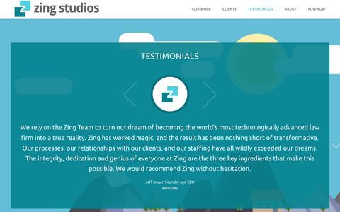 Screenshot of Testimonials Page zingstudios.com - Testimonials - Zing Studios - captured Oct. 19, 2018