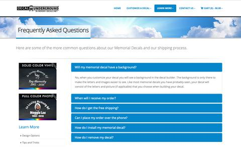 Screenshot of FAQ Page in-memory-decals.net - Frequently Asked Questions | In Memory Decals - captured Nov. 2, 2018