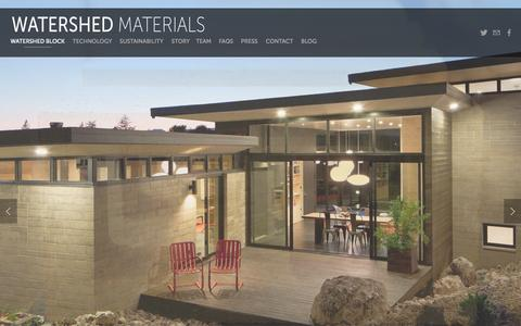 Screenshot of Home Page watershedmaterials.com - Watershed Materials Low Cement Sustainable Masonry Rammed Earth Block - captured Sept. 19, 2014
