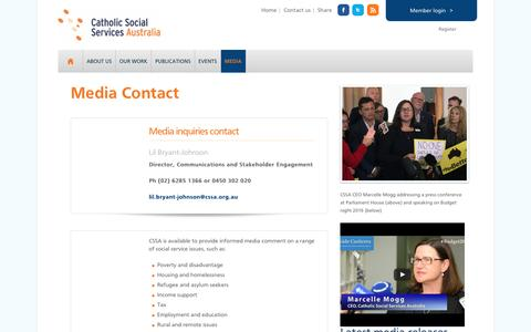 Screenshot of Press Page cssa.org.au - Media Contact — Catholic Social Services Australia - captured Oct. 28, 2016