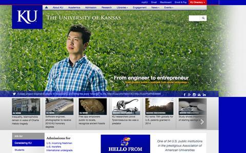 Screenshot of Home Page ku.edu - The University of Kansas - captured Oct. 22, 2015