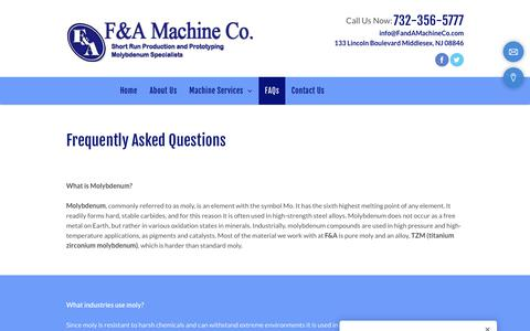 Screenshot of FAQ Page fandamachineco.com - FAQs| Middlesex, NJ | F & A Machine Co. - captured Oct. 1, 2018