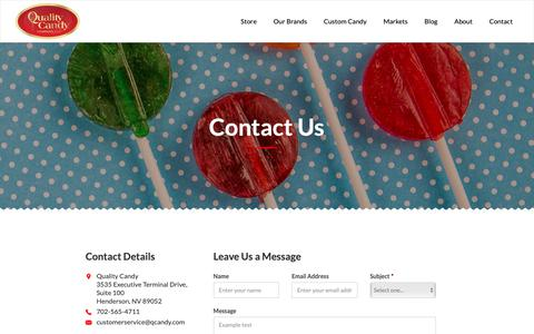 Screenshot of Contact Page qcandy.com - Contact Us - Quality Candy - captured Sept. 28, 2018