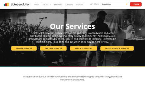 Screenshot of Services Page ticketevolution.com - Our Services - Ticket Evolution | Customizable Event Ticketing API - captured Oct. 19, 2018