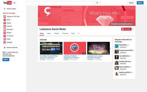 Screenshot of YouTube Page youtube.com - Lodestone Social Media  - YouTube - captured Nov. 2, 2014