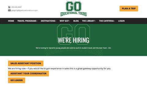 Screenshot of Jobs Page goeducationaltours.com - We're Hiring | GO Educational Tours GO Educational Tours - captured Sept. 3, 2018