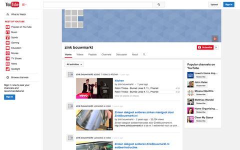 Screenshot of YouTube Page youtube.com - zink bouwmarkt  - YouTube - captured Oct. 26, 2014