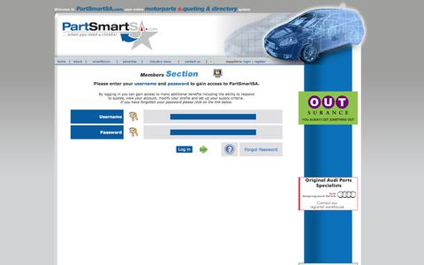 Screenshot of Login Page partsmartsa.com - Welcome to PartSmartSA.com - The quotation system that puts sellers and buyers of new and used motorparts together! - captured July 15, 2018