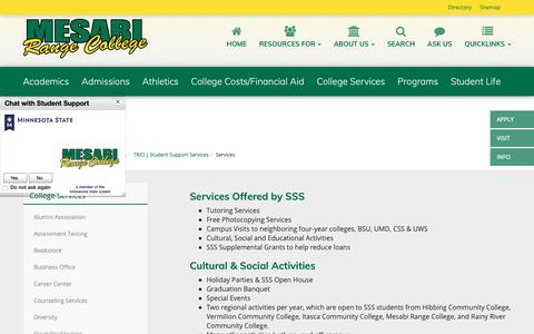 Screenshot of Services Page mesabirange.edu - Services   Mesabi Range College - captured Oct. 17, 2018