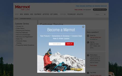 Screenshot of Support Page marmot.com - Marmot Customer Service | Marmot.com - captured March 26, 2016
