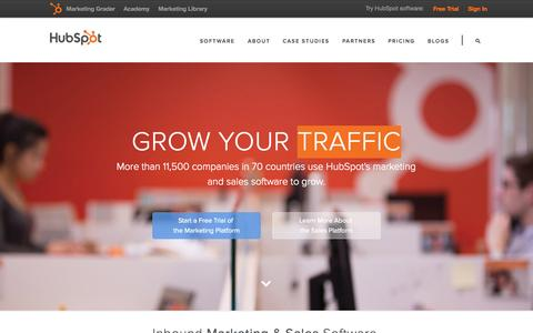 Screenshot of Home Page hubspot.com - HubSpot | Inbound Marketing & Sales Software - captured Jan. 14, 2015