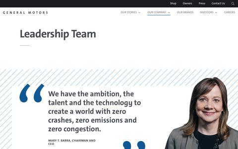 Screenshot of Team Page gm.com - Leadership - captured Sept. 19, 2018
