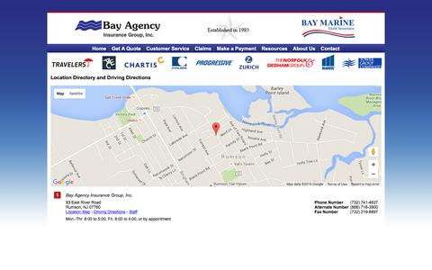 Screenshot of Locations Page bayagency.net - Bay Agency Insurance Group Locations and Driving Directions - captured Feb. 7, 2016