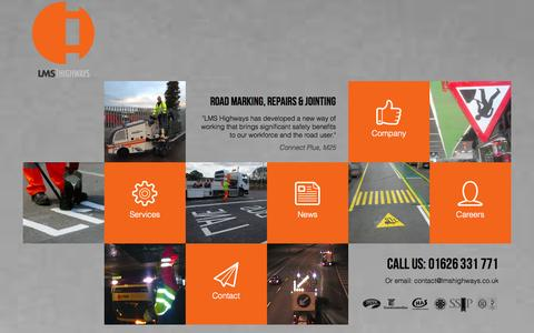 Screenshot of Home Page Contact Page Services Page Press Page Jobs Page lmshighways.co.uk - LMS Highways | Road Marking, Road Repair and Joint Sealing specialists operating nationwide - captured Oct. 1, 2014