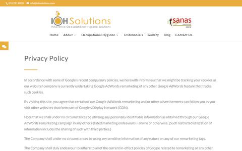 Screenshot of Privacy Page iohsolutions.com - Privacy Policy | IOH Solutions - captured July 27, 2018