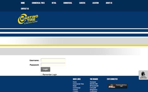 Screenshot of Login Page martinotire.com - User Log In - captured Dec. 6, 2016