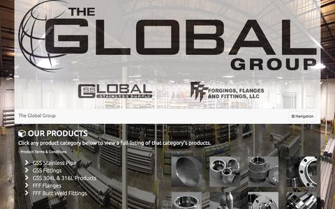 Screenshot of Products Page globalgroup1.com - Products & Services | The Global Group | Industrial Pipe & Pipe Components - captured Jan. 29, 2016