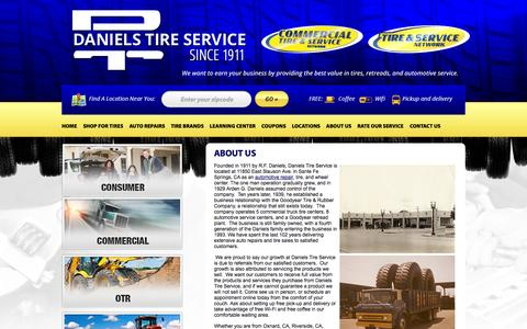 Screenshot of About Page danielstireservice.com - About Daniels Tire Service :: Santa Fe Springs, California  Tires Shop - captured Sept. 30, 2014