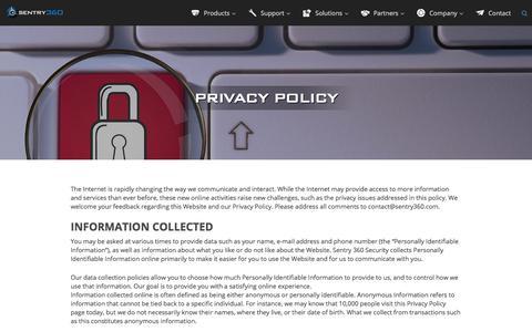Screenshot of Privacy Page sentry360.com - Sentry360 IP Megapixel Surveillance — Video Surveillance Security Systems, Video System Surveillance, Digital Cameras | Sentry360 | Privacy Policy - captured Nov. 12, 2017