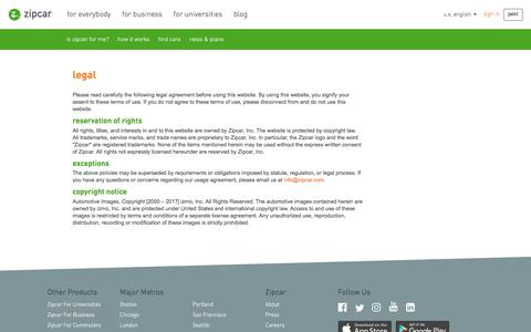 Screenshot of Terms Page zipcar.com - usage agreement – Zipcar - captured Dec. 4, 2019
