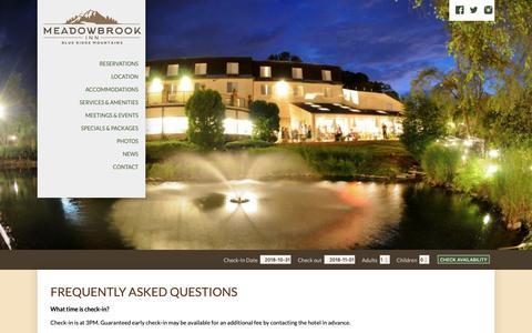 Screenshot of FAQ Page meadowbrook-inn.com - Blowing Rock Hotel   Meadowbrook Inn   Hotel near Blue Ridge - captured Oct. 31, 2018
