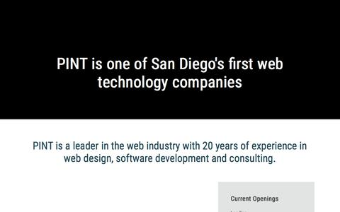 Screenshot of Jobs Page pint.com - PINT Careers | San Diego Web Development Team | PINT - captured July 12, 2018