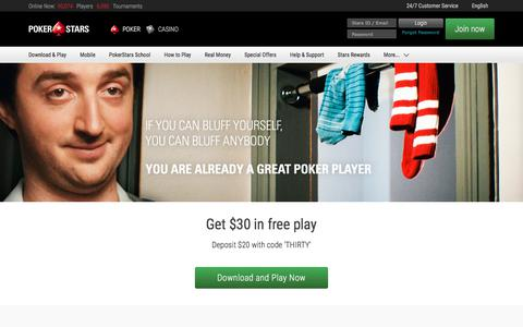 Screenshot of Home Page pokerstars.com - Online Poker – Play Poker Games at PokerStars - captured Nov. 23, 2017