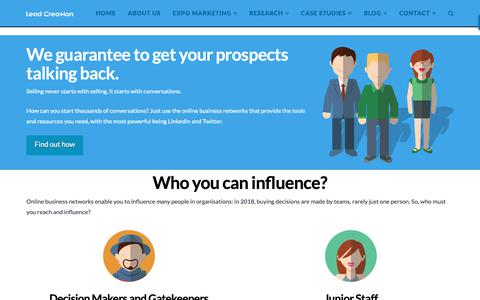 Screenshot of Home Page leadcreation.com.au - B2B Marketing | Start a Conversation with your Prospects - captured Nov. 4, 2018