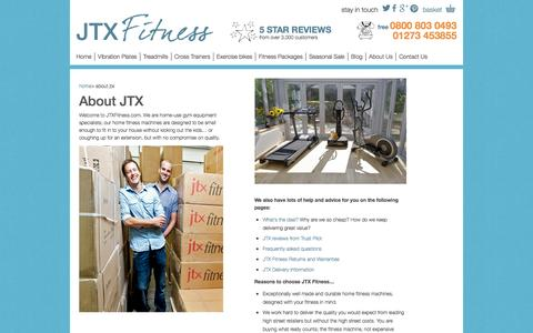 Screenshot of About Page jtxfitness.com - JTX Fitness - Home Fitness Machines - About Us - captured Sept. 29, 2014