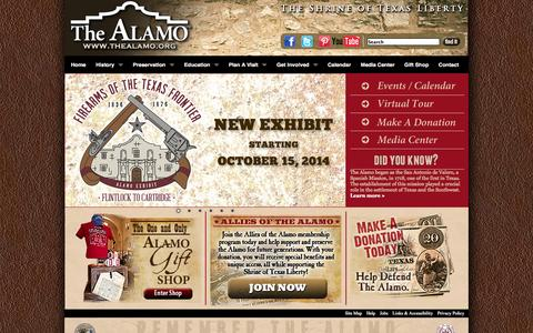 Screenshot of Home Page thealamo.org - The Official Alamo Website - captured Sept. 24, 2014