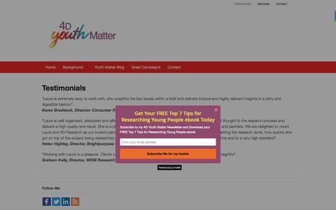 Screenshot of Testimonials Page 4dresearch.co.uk - Testimonials - 4dResearch - captured Aug. 17, 2016