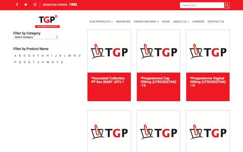Screenshot of Products Page tgp.com.ph - Products | Drugstore Philippines - The Generics Pharmacy - captured Nov. 16, 2017