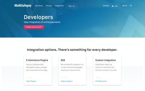 Screenshot of Developers Page multisafepay.com - Integration - Plugins, API Wrappers and References   MultiSafepay - captured Dec. 3, 2015