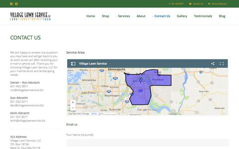 Screenshot of Contact Page villagelawnservice.biz - Village Lawn Service in St. Paul, MN - Including Lawn Care, Landscaping, Mowing, & Snow Removal - captured June 13, 2017