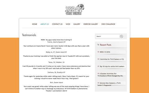 Screenshot of Testimonials Page urbanthrillseekers.com - Testimonials | urban thrill seekers - captured Feb. 22, 2016