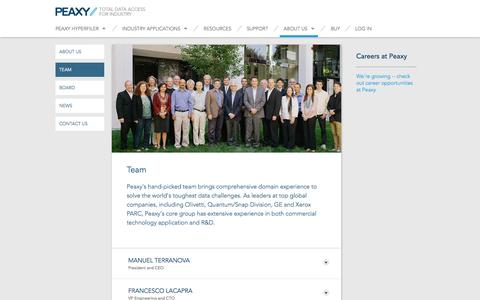 Screenshot of Team Page peaxy.net - Peaxy Team Members - captured Oct. 28, 2014