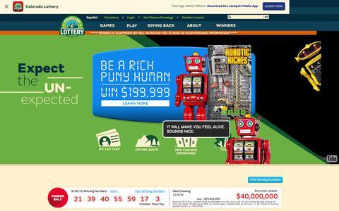 Screenshot of Home Page coloradolottery.com - Colorado Lottery - captured Oct. 1, 2015