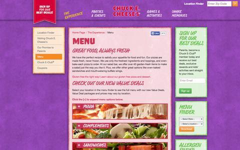 Screenshot of Menu Page chuckecheese.com - Chuck E. Cheese's Menu   Chuck E. Cheese's - captured Sept. 19, 2014