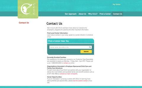 Screenshot of Contact Page cclc.com - Questions? Need More Information? Contact Us Today | CCLC | CCLC - captured Dec. 5, 2015
