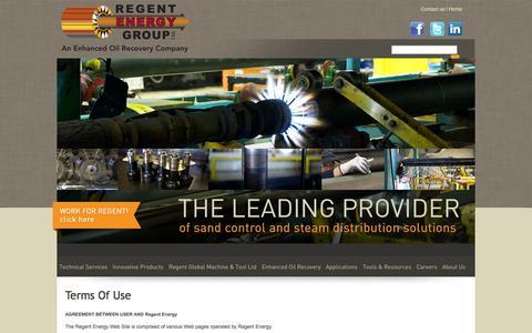 Screenshot of Terms Page regentenergygroup.com - Regent Energy - Sand Control & Steam Distribution Solutions - captured Oct. 26, 2014