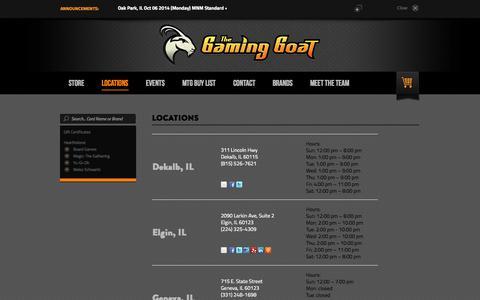 Screenshot of Locations Page thegaminggoat.com - Locations - captured Oct. 6, 2014