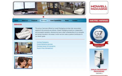 Screenshot of Services Page howellpkg.com - Services | Howell Packaging - captured Sept. 25, 2018