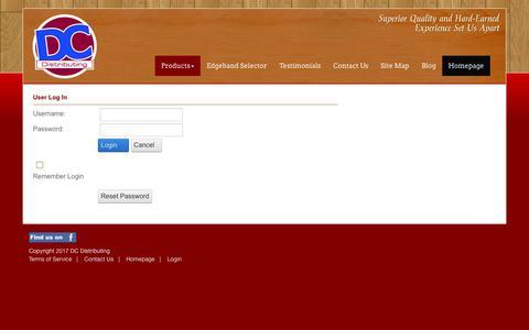 Screenshot of Login Page dc-dist.com - User Log In - captured Oct. 11, 2017